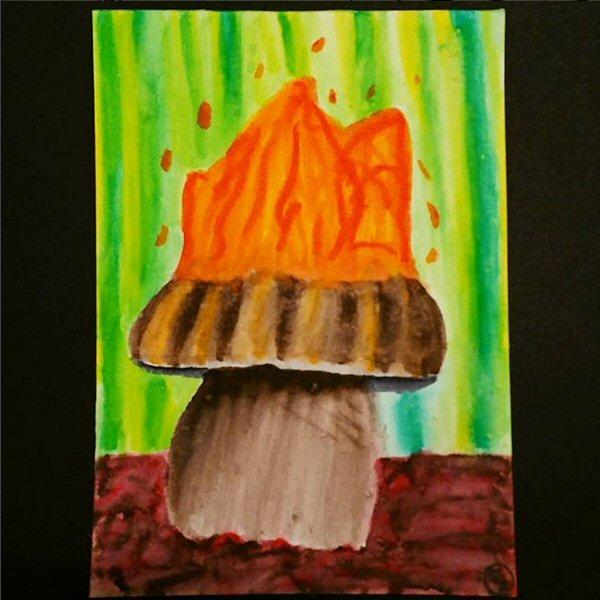 03 Fiery Mushroom - brush markers - 2017
