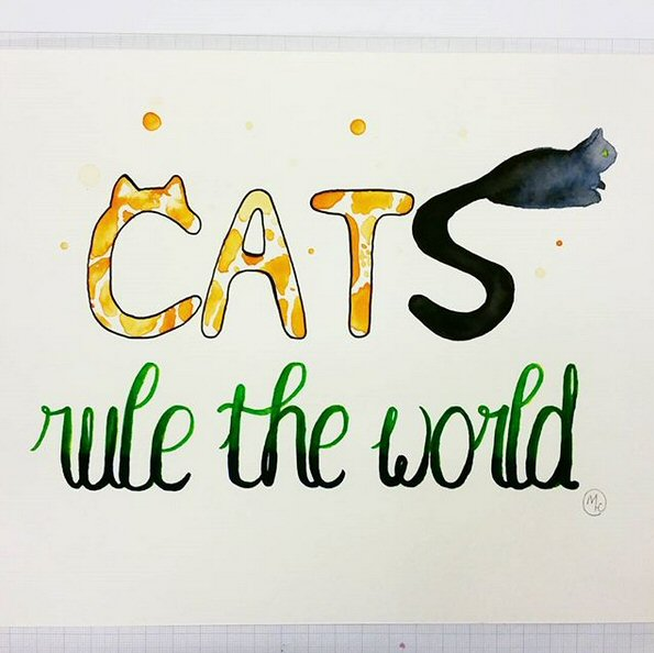 06 Cats Rule the World for Ether - watercolour - 2017