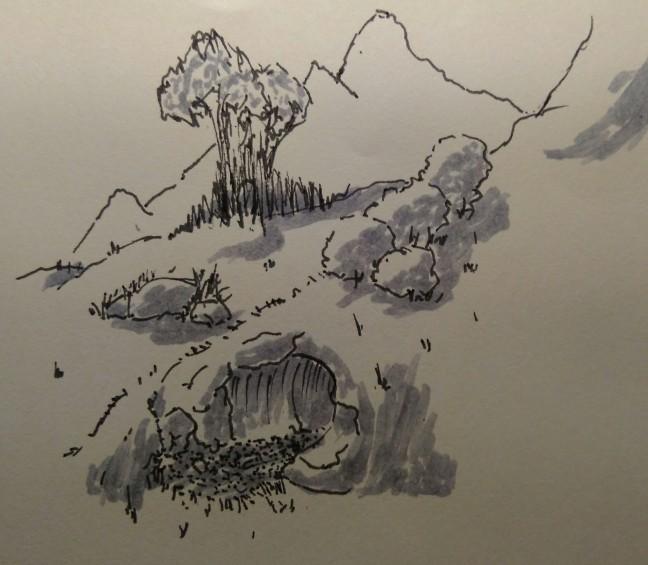 hillside cave